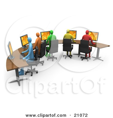 Clipart Illustration of Colorful Diverse Office Workers Using ...