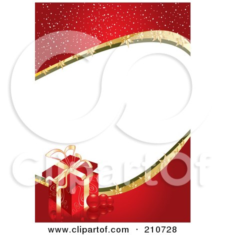 Royalty-Free (RF) Clipart Illustration of a Sparkly Red Gift Border With White Space by MilsiArt
