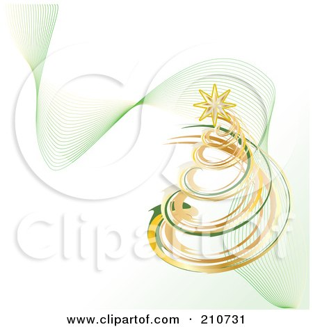 Royalty-Free (RF) Clipart Illustration of a Golden And Green Coil Christmas Tree With Mesh Green Waves On White by MilsiArt