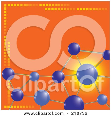 Royalty-Free (RF) Clipart Illustration of Purple Molecules Over An Orange Background by MilsiArt