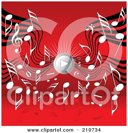 Royalty-Free (RF) Clipart Illustration of a Music Notes And Sound Waves Around A Play Music Speaker On Red by MilsiArt