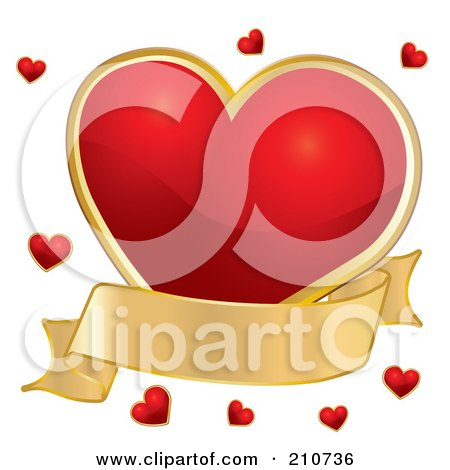 Royalty-Free (RF) Clipart Illustration of a Plump Red Heart With A Gold Banner And Tiny Red Hearts by MilsiArt