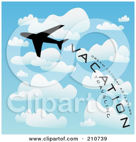 Royalty-Free (RF) Clipart Illustration of a Silhouetted Play Flying With A Trail Of Vacation And Travel Words In A Cloudy Sky by Arena Creative