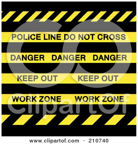 Royalty-Free (RF) Clipart Illustration of Police Line Do Not Cross, Danger, Keep Out And Work Zone Strips Over Black by Arena Creative