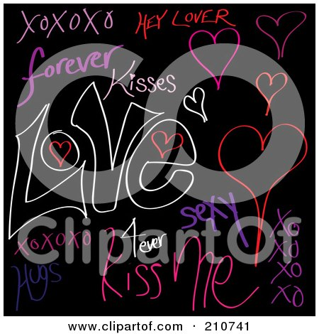 Royalty-Free (RF) Clipart Illustration of a Digital Collage Of Love Words And Doodles On Black by Arena Creative