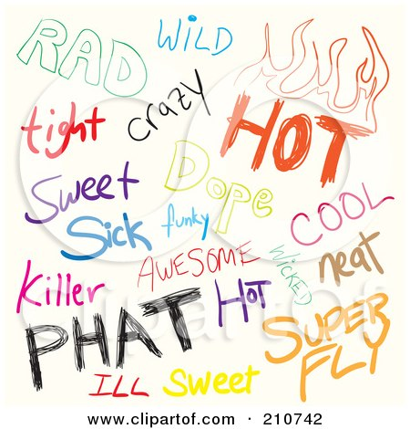 Royalty-Free (RF) Clipart Illustration of a Digital Collage Of Sketched Slang Words On White by Arena Creative