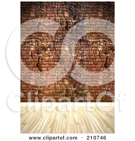 Royalty-Free (RF) Clipart Illustration of a Light Hardwood Floor Against A Grungy Brick Wall by Arena Creative