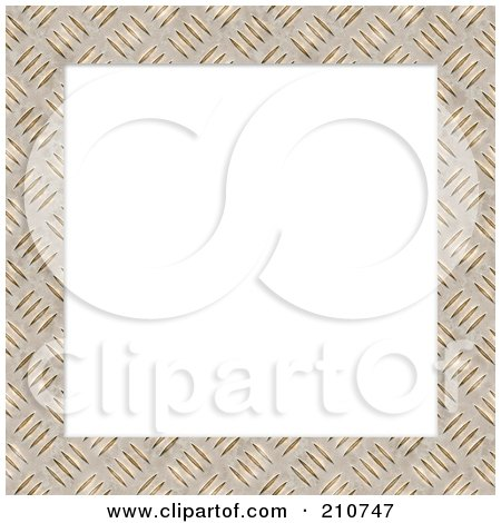 Royalty-Free (RF) Clipart Illustration of a Diamond Plate Border Frame Around Blank White Space by Arena Creative