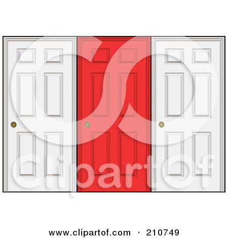 Royalty-Free (RF) Clipart Illustration of a Red Door In The Center Of Two White Doors by Arena Creative