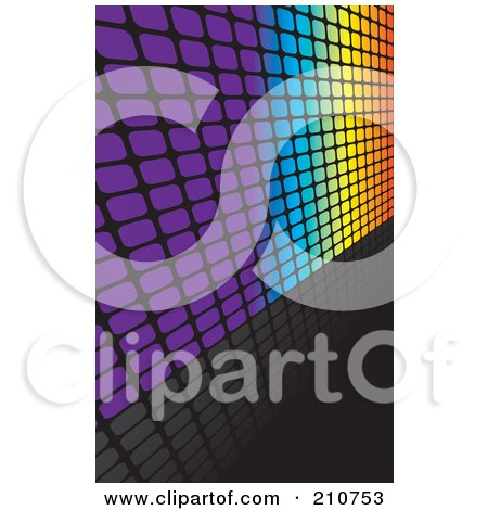 Royalty-Free (RF) Clipart Illustration of a Square Grid Rainbow Wall Leading Off To The Right, On A Reflective Black by Arena Creative