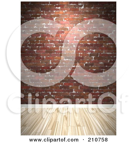 Royalty-Free (RF) Clipart Illustration of a Light Hardwood Floor Against A Deep Red Brick Wall by Arena Creative