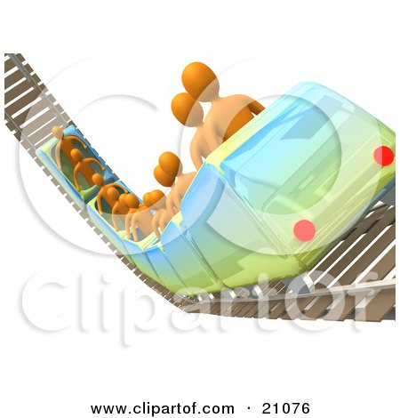Clipart Illustration of Orange People Riding A Roller Coaster On Rails In An Amusement Park by 3poD