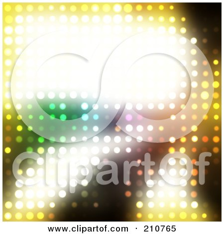 Royalty-Free (RF) Clipart Illustration of a Bright Glowing Text Box On A Background Of Glowing Lights by Arena Creative
