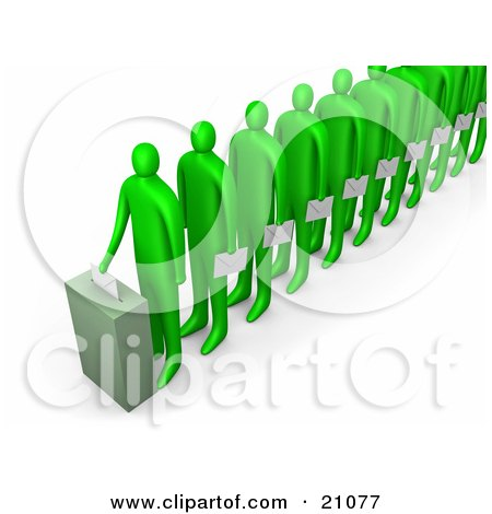 Clipart Illustration of a Line Of Green People Holding Ballots And Waiting For Their Turn To Vote by 3poD