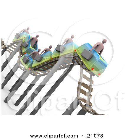 Clipart Illustration of Businessmen Carrying Briefcases, Riding On A Bumpy Roller Coaster by 3poD