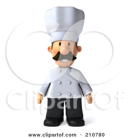 Royalty-Free (RF) Clipart Illustration of a 3d Chef Man Standing And Facing Front by Julos