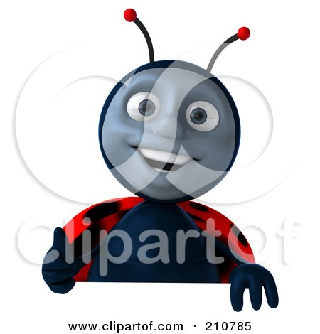 Royalty-Free (RF) Clipart Illustration of a 3d Ladybug Smiling And Holding A Thumb Up Over A Blank Sign by Julos