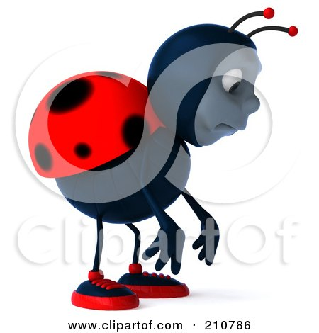 Royalty-Free (RF) Clipart Illustration of a 3d Ladybug Pouting And Facing Right by Julos