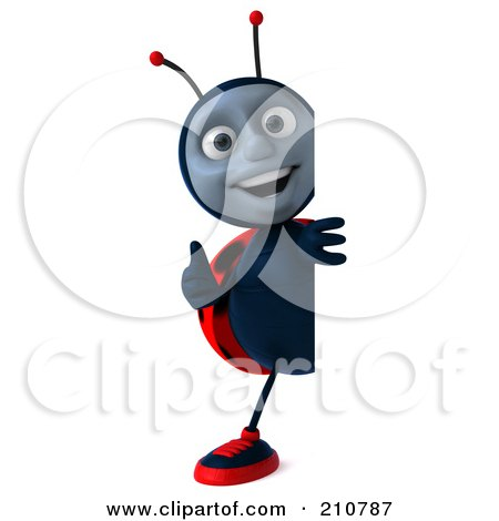 Royalty-Free (RF) Clipart Illustration of a 3d Ladybug Smiling And Holding A Thumb Up Around A Blank Sign by Julos