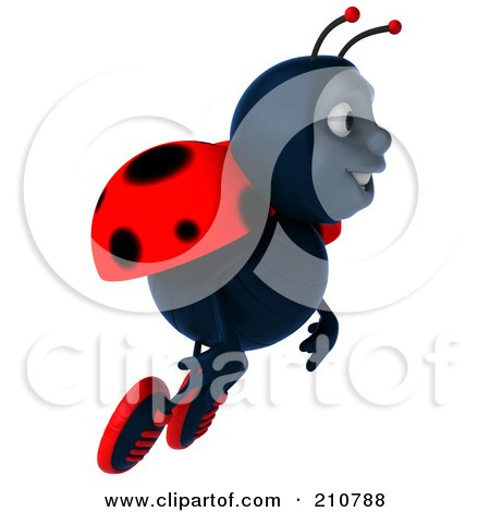 Royalty-Free (RF) Clipart Illustration of a 3d Ladybug Smiling And Flying Right by Julos