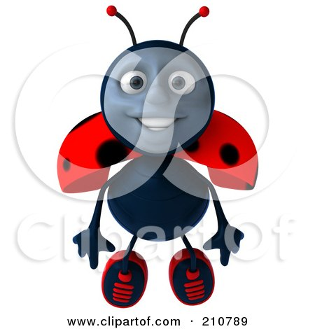 Royalty-Free (RF) Clipart Illustration of a 3d Ladybug Smiling And Flying Forward by Julos