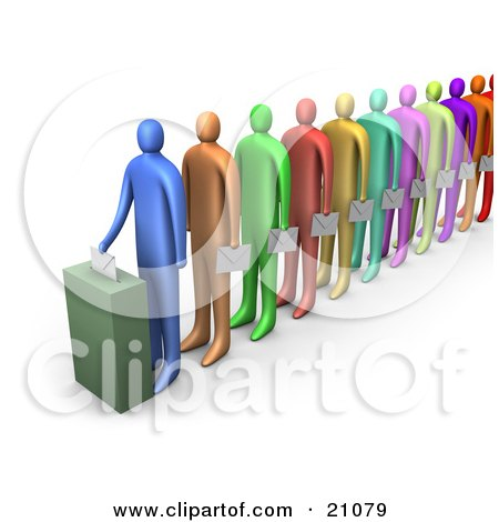 Clipart Illustration of a Line Of Diverse Colorful People Holding Ballots And Waiting For Their Turn To Vote by 3poD