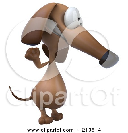 Royalty-Free (RF) Clipart Illustration of a 3d Brown Pookie Wiener Dog Facing Right And Waving by Julos