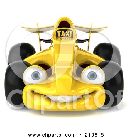 Royalty-Free (RF) Clipart Illustration of a 3d Yellow Formula One Taxi Car Facing Front by Julos