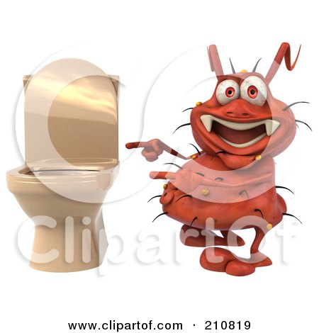Royalty-Free (RF) Clipart Illustration of a 3d Rodney Germ Smiling And Pointing At A Toilet by Julos