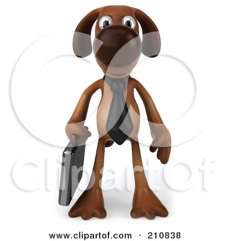 Royalty-Free (RF) Clipart Illustration of a 3d Brown Pooch Business Dog Facing Front And Carrying A Briefcase by Julos