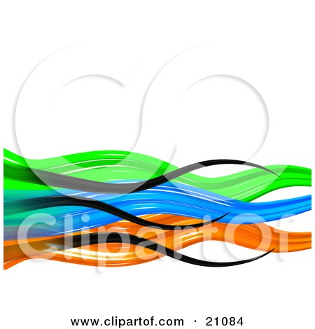 Clipart Illustration of a Vibrant Colorful Background Of Black, Green, Blue, And Orange Waves Over White by 3poD
