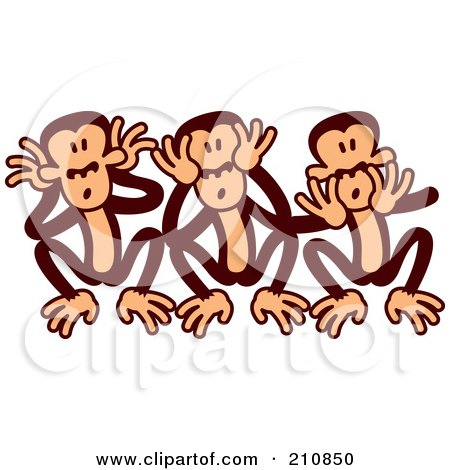 Royalty-Free (RF) Clipart Illustration of Goofy Three Wise Monkeys by Zooco