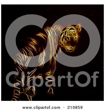 Royalty-Free (RF) Clipart Illustration of an Abstract Orange Neon Tiger Design On Black by elaineitalia