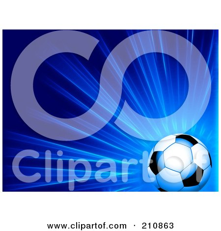 Shiny Soccer Ball Over A Bursting Blue Background Posters, Art Prints