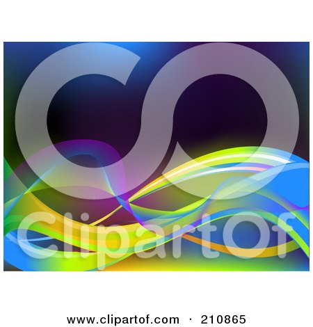 Royalty-Free (RF) Clipart Illustration of a Background Of Solid And Mesh Colorful Neon Waves by elaineitalia