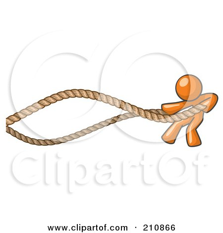 Royalty-Free (RF) Clipart Illustration of an Orange Man Design Mascot Struggling With Ropes by Leo Blanchette