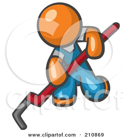 Orange Man Design Mascot Kneeling And Using A Pipe Wrench Posters, Art Prints