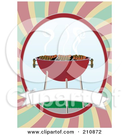 Royalty-Free (RF) Clipart Illustration of Meat And Hot Dogs Grilling On A Bbq, With A Blank Banner On A Colorful Background by mheld