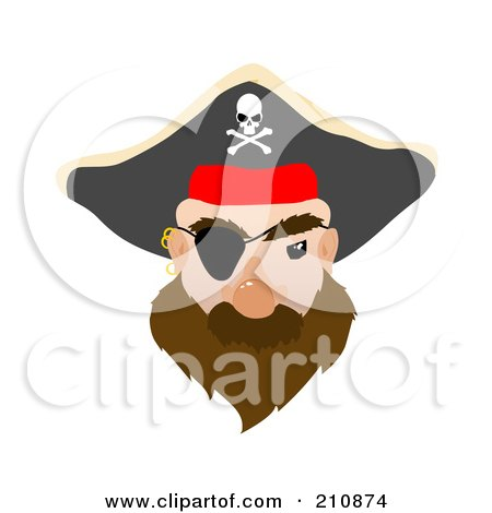 Royalty-Free (RF) Clipart Illustration of a Male Pirate Face With An Eye Patch by mheld