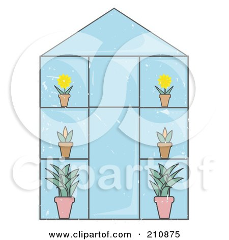 Glass Greenhouse With Potted Plants And Flowers Posters, Art Prints