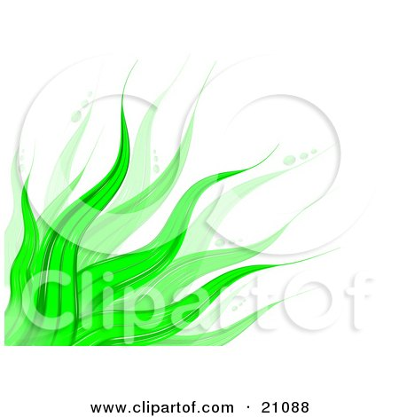 Clipart Illustration of a Vibrant Background Of Green Leaves Waving Over White by 3poD