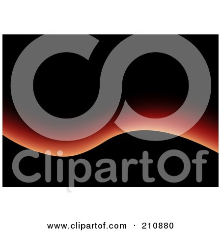 Royalty-Free (RF) Clipart Illustration of a Black Background With A Red Glowing Wave by dero
