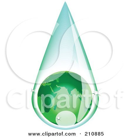 Royalty-Free (RF) Clipart Illustration of a Green European Globe Inside A Rain Drop by tdoes