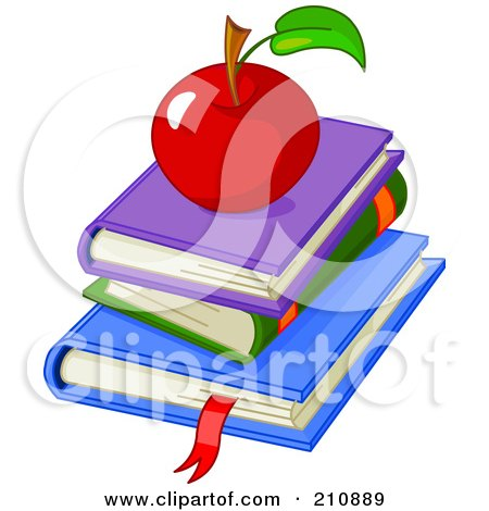 Royalty-Free (RF) Clipart Illustration of a Shiny Red Apple On Top Of A Stack Of School Text Books by Pushkin
