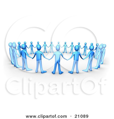 Clipart Illustration of a Group Of Blue People Holding Hands And Facing The Center Of A Circle, Symbolizing Support And Teamwork by 3poD