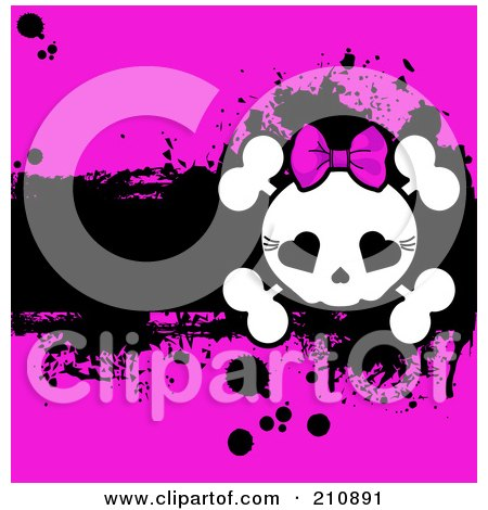 Royalty-Free (RF) Clipart Illustration of a Cute Girly Skull And Cross Bones Over A Grungy Black And Pink Background by Pushkin
