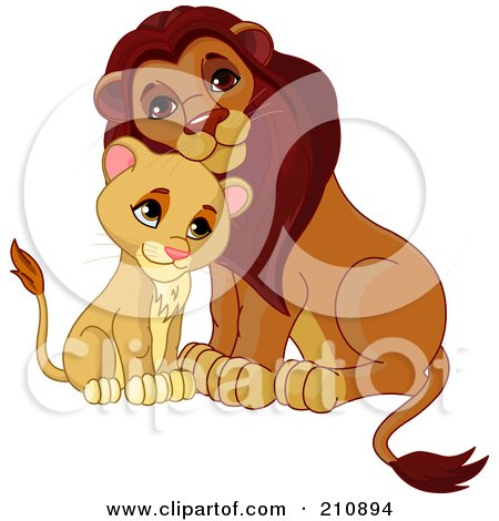 Royalty-Free (RF) Clipart Illustration of a Cute Cub Cuddling With A Father Lion by Pushkin