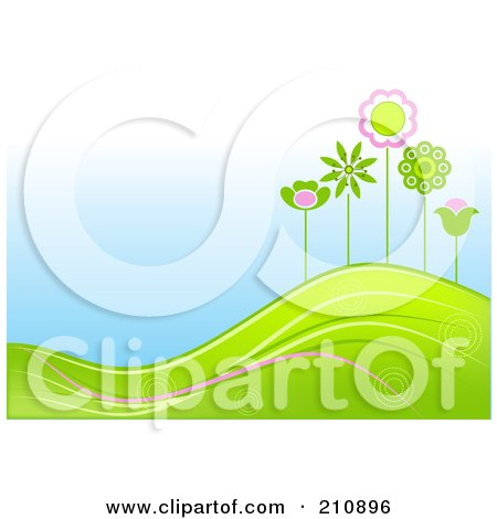 Royalty-Free (RF) Clipart Illustration of a Hilly Landscape Background With Green And Pink Flowers by Pushkin