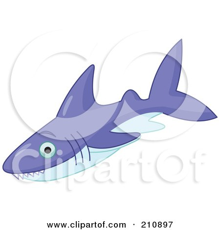 Royalty-Free (RF) Clipart Illustration of a Purple Shark With Pointed Teeth by Pushkin