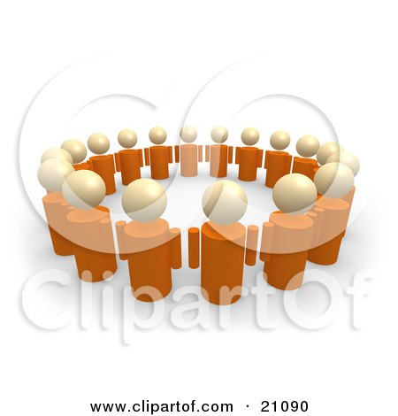 Clipart Illustration of a Group Of Orange People Standing In A Circle Of Support by 3poD
